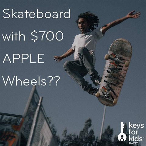 Skateboard with $700 APPLE WHEELS