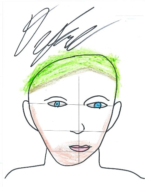 This is my drawing of myself. I think I grabbed the wrong color for my hair :D