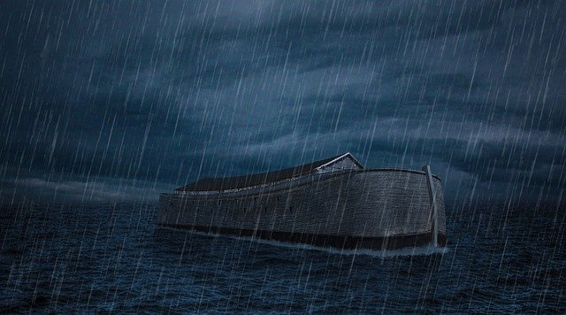 Noah's Ark in the Flood with rain