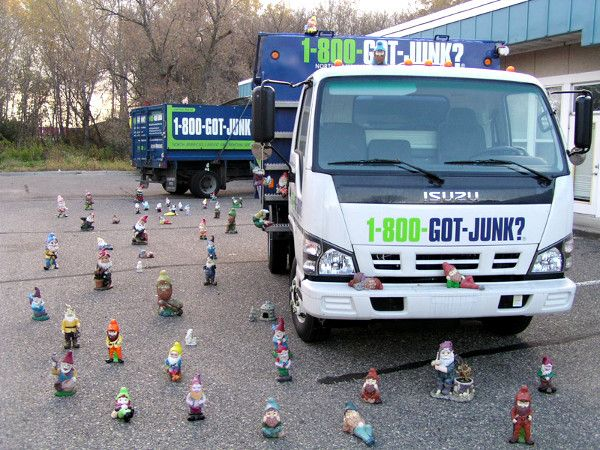 A whole garage worth of garden gnomes are taking over the dump truck!